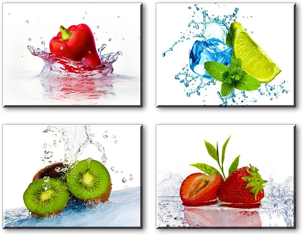 Fruit Wall Art for Kitchen, SZ 4 Piece Set Vivid Fruits and Ice Picture Home Decor, Cool Summer Canvas Prints in Dining Room (Waterproof Artwork, Bracket Mounted Ready Hanging)
