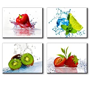 """Kitchen Pictures Wall Decor, 4 Piece Set Colorful Fruits and Ices Canvas Wall Art, Cool Summer Canvas Prints for Dining Room (Water Proof Artwork, Bracket Mounted Ready Hanging, 1"""" Thick)"""
