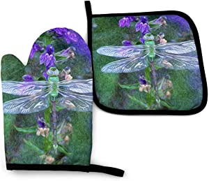 Dragonfly Clip Art Funny Oven Mitts and Pot Holders Girls and Women Men Heat Resistant Kitchen Bake Gloves for BBQ Cooking Baking, Grilling
