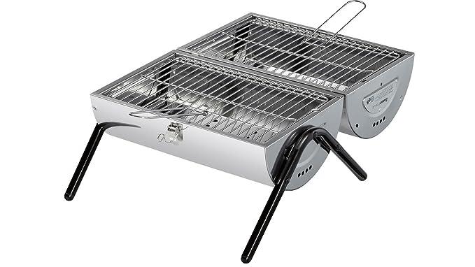 Enders BBQ Barbacoa de carbón hohlz Dallas 2.0, Certificado TÜV GS, Picnic Barbacoa, Mini de Acero Inoxidable Barbacoa de carbón de Madera, balcón Barbacoa, ...