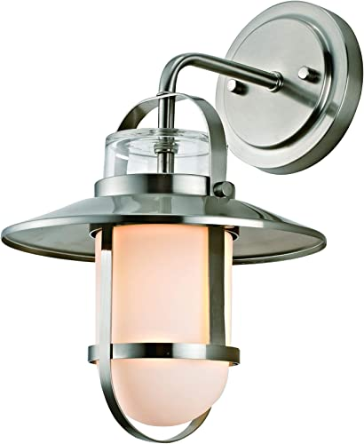 Addington Park 31761 Miles Collection 1-Light Nautical Outdoor Wall Sconce with Frosted Glass, Dark Bronze
