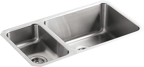 KOHLER K-3174-L-NA Undertone High Low Undercounter Kitchen Sink, Stainless Steel