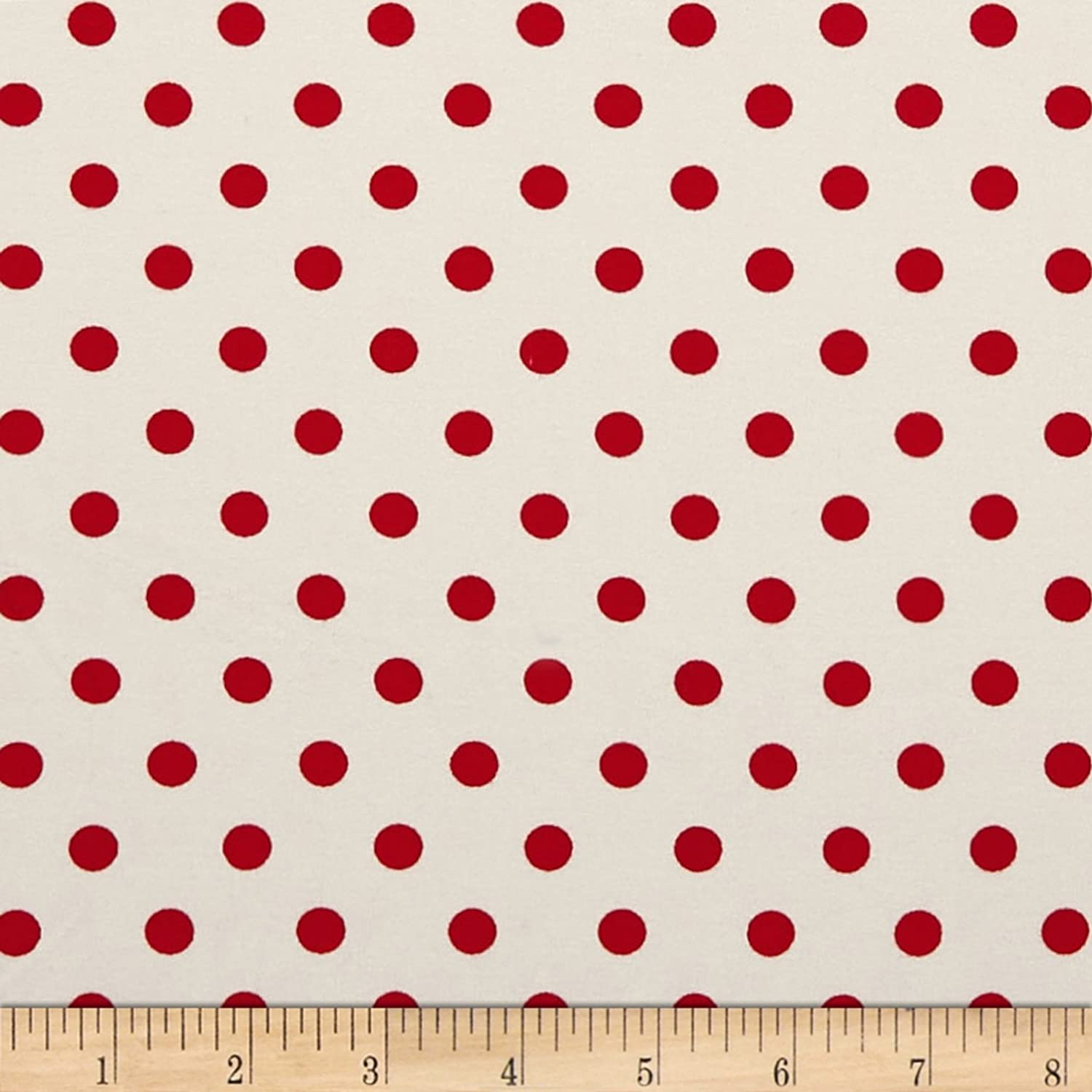 4849a808041 Amazon.com: Fabric Merchants Double Brushed Poly Jersey Knit Small Polka  Dot Red/Ivory Fabric by The Yard
