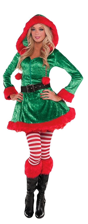 Luxuspiraten - Damen Weihnachtliches Kostüm, Elfe, Weihnachtshelferin, Grün, Größe S