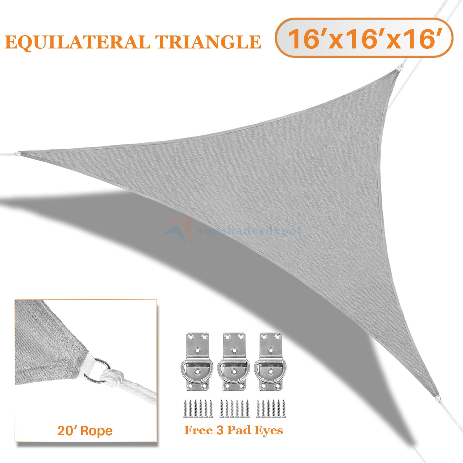 Sunshades Depot 16' x 16' x 16' Sun Shade Sail 180 GSM Equilateral Triangle Permeable Canopy Light Grey CustomSize Available Commercial Standard