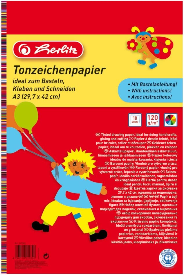 10/Sheets 229302 Herlitz A3 Coloured Drawing Paper Pad