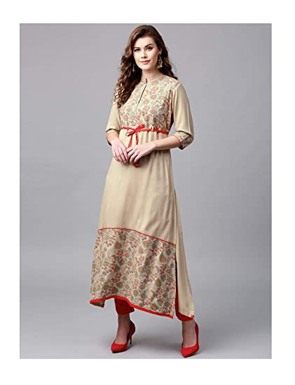 7eafc55854033 Amazon.com  Hiral Designer Plus Size Indian kurti for Women Beige Printed A-Line  Kurta Cotton Dresses  Clothing