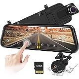 """10""""Mirror Dash CAM Pantalla táctil Cámara de Respaldo 170 ° 1080P Delantera y 150 ° 1080P Cámara de visión Trasera Doble Lente Visión Nocturna Monitor de estacionamiento + Tarjeta SD de 32 GB"""