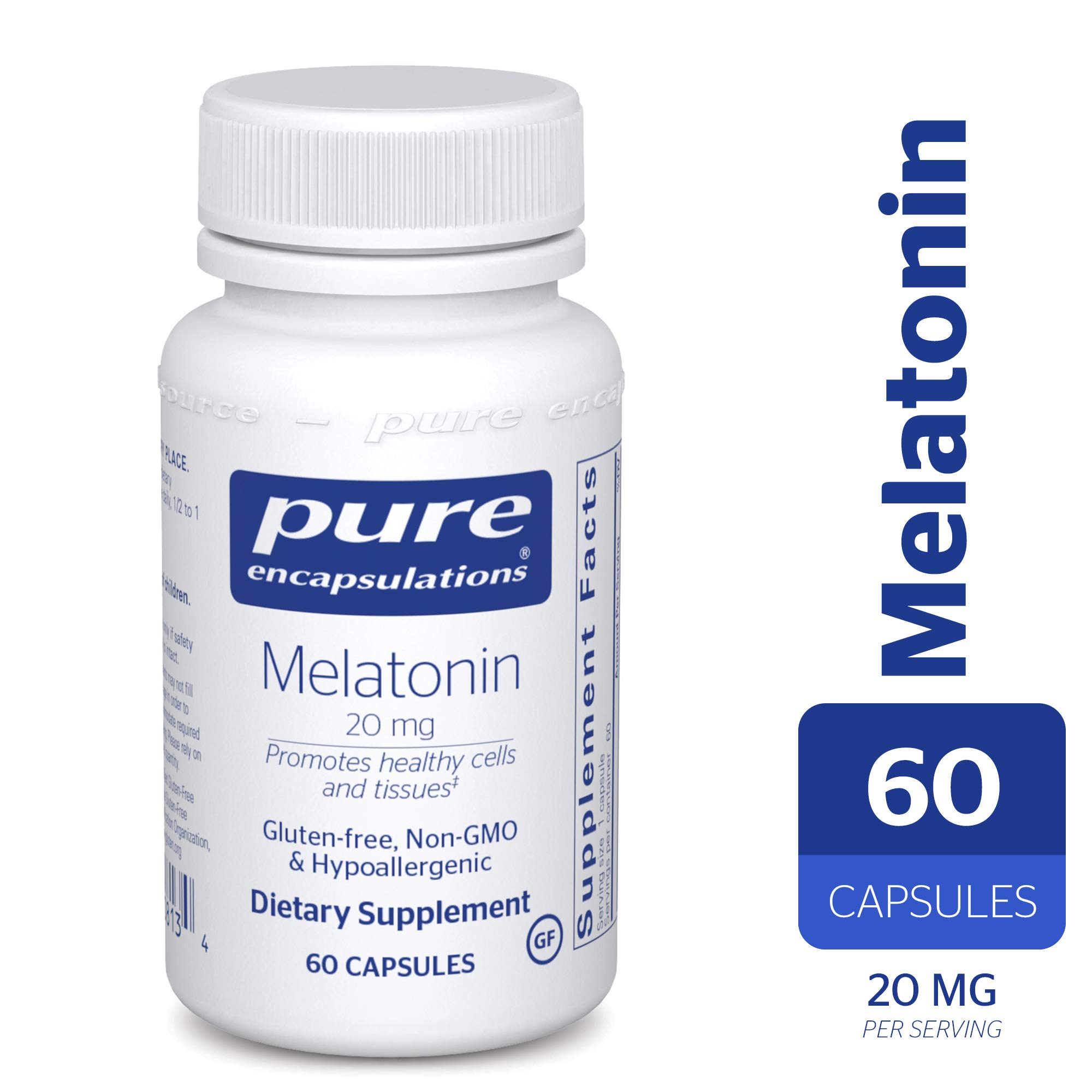 Pure Encapsulations - Melatonin 20 mg - Hypoallergenic Supplement Promotes Healthy Cells and Tissues* -