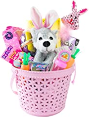 Easter Baskets Filled with Toys and Candy for Kids and Adults-Stuffed Easter Basket for Boys and Girls- Easter Bunny Ear Stu