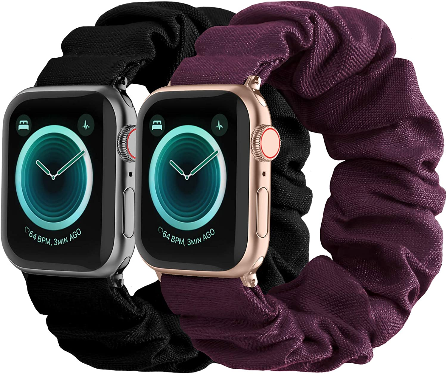 Compatible with Scrunchies Apple Watch Bands 42mm 44mm, Women Cloth Pattern Printed Fabric Wristbands Straps Elastic Scrunchy Band for iWatch Series 6 5 4 3 2 1 SE (Large Black, Wine)