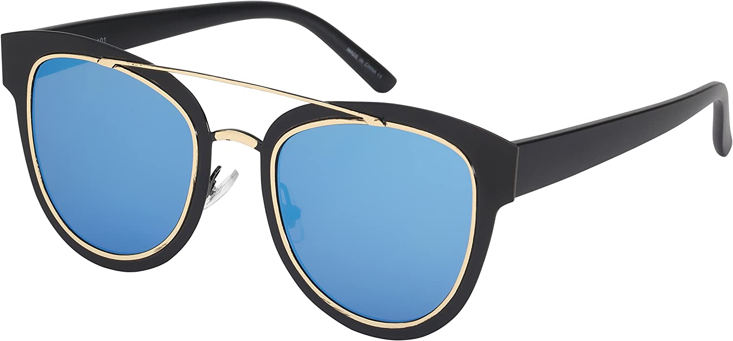 Edge I-Wear Aviators with Nose bridge Detailing and Flat Mirrored Lenses 3109-FLREV