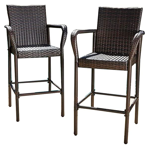 Great Deal Furniture | Stewart | Outdoor Wicker Barstool | Set of 2 | in Brown