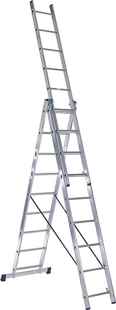 Escalo LS3X11 Stabilo - Escalera con estabilizador (aluminio, 3 x 11 peldaños): Amazon.es: Bricolaje y herramientas