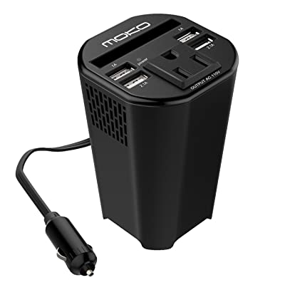 MoKo 150W Car Power Inverter, DC 12V to 110V AC Outlet Cup Holder Converter Adapter, with 4 USB Port Charger, for iPhone X / 8/8 Plus, MacBook, iPad Pro, Chromebook, Galaxy S8 and etc. (Black): Automotive