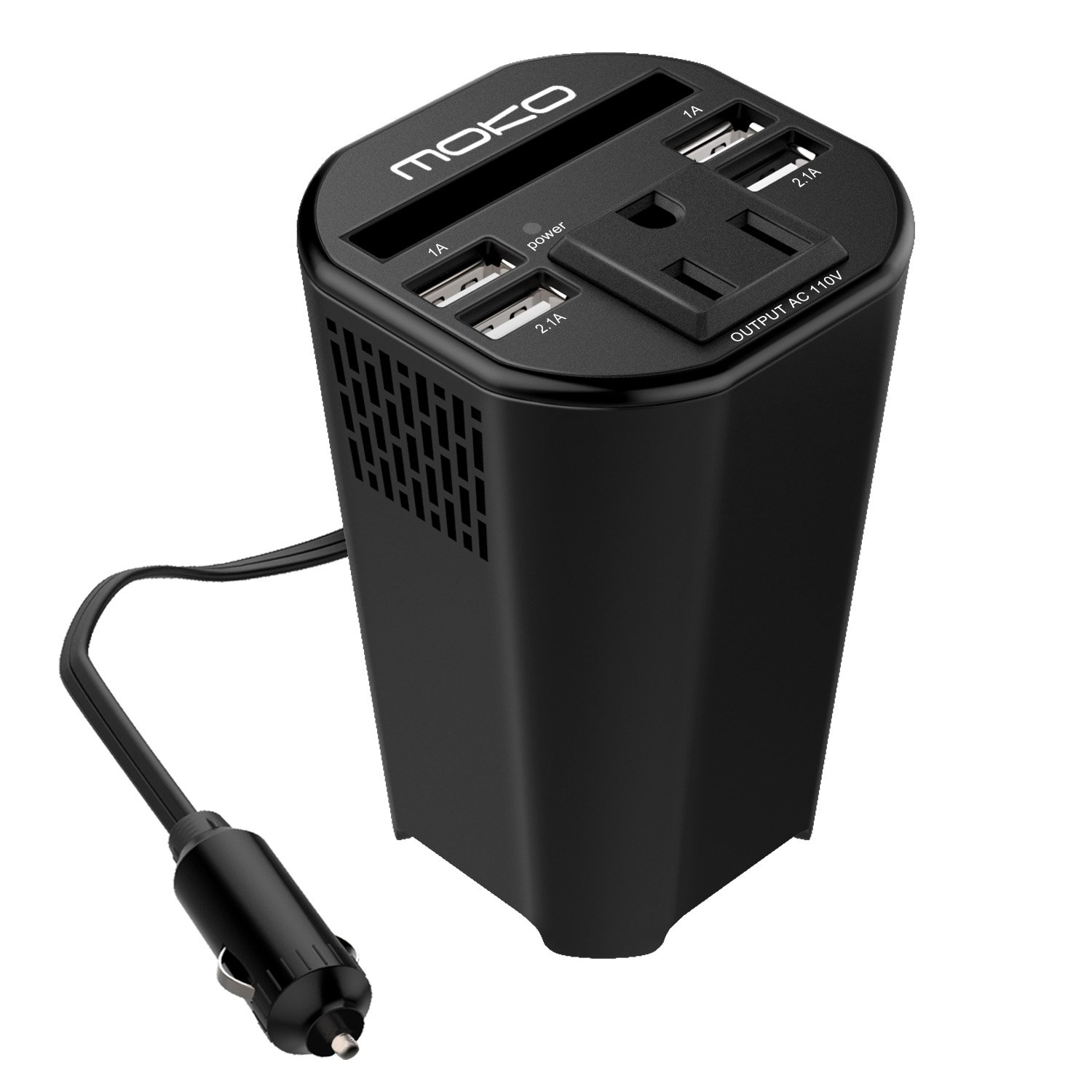 MoKo 150W Car Power Inverter, DC 12V to 110V AC Outlet Cup Holder Converter Adapter, with 4 USB Port Charger, for iPhone X/8/8 Plus, MacBook, iPad Pro, Chromebook, Galaxy S8 and etc. (Black)