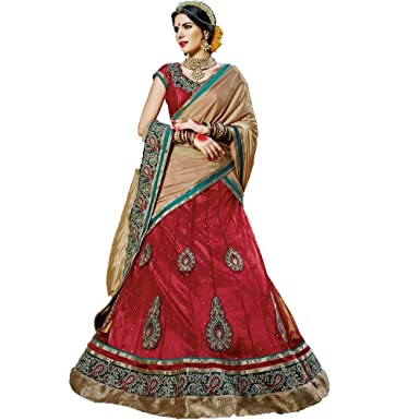 7f5c51a4a3 Vivaa Fashion Red Patch Border Work net Designer Lehenga Choli: Amazon.in:  Clothing & Accessories