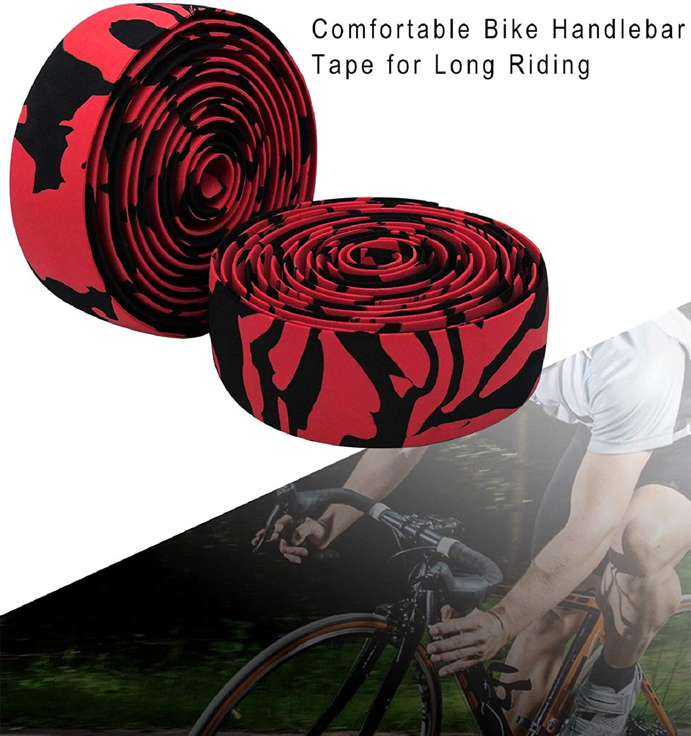 Nsoar Bicycle Bar Tape Camouflage Sponge Series Mountain Bike Bandage with 2 Bar Plugs Bicycle Accessories