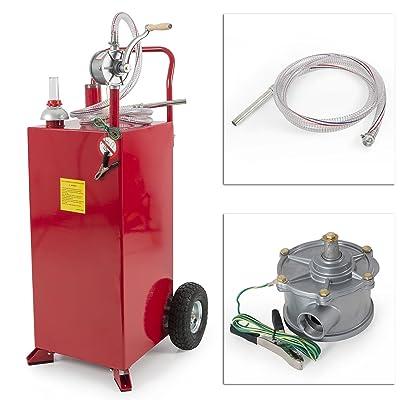 30 Gallon Gas Caddy Tank Storage Drum Gasoline Diesel Fuel Transfer Wired Hose: Automotive