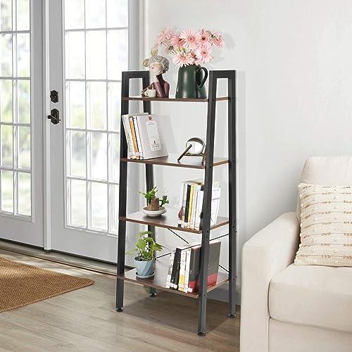 Houssem 4 Tier Ladder Bookshelf Industrial Bookcase Wood Shelves Review