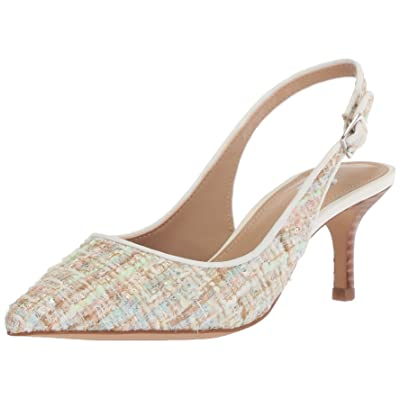 Brand - The Fix Women's Felicia Slingback Kitten Heel Pump, bright white/multi tweed, 7.5 B US: Shoes