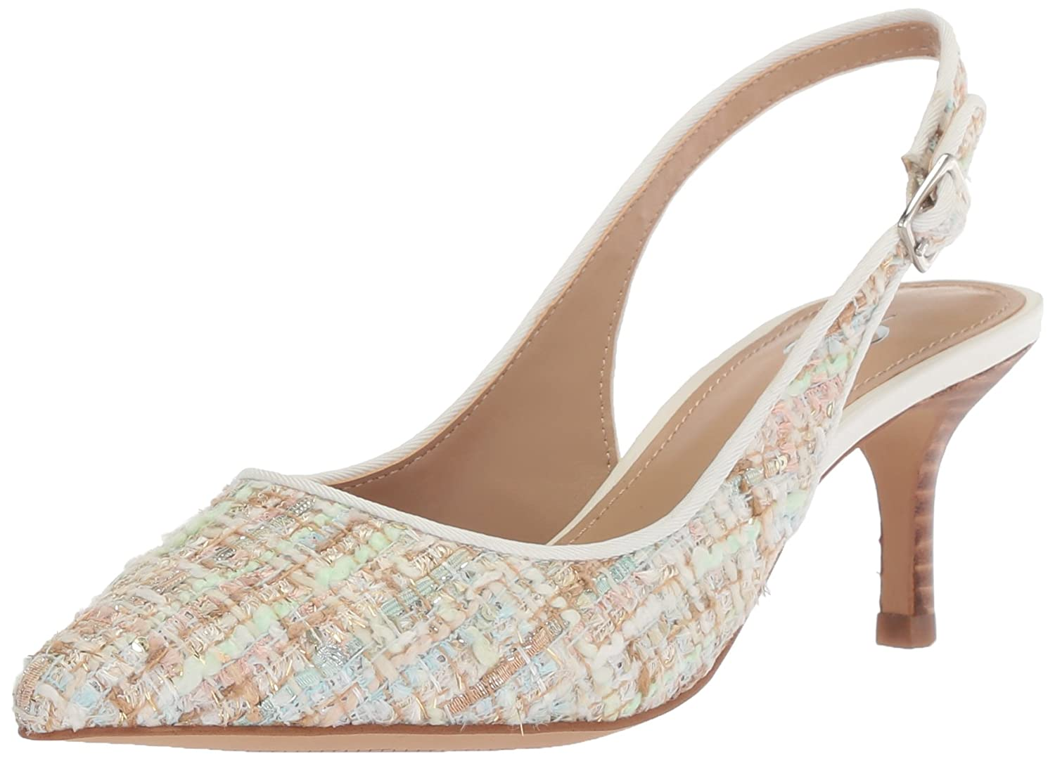 The Fix Women's Felicia Slingback Kitten Heel Pump B078FHBDHK 10 B(M) US|Bright White/Multi Tweed