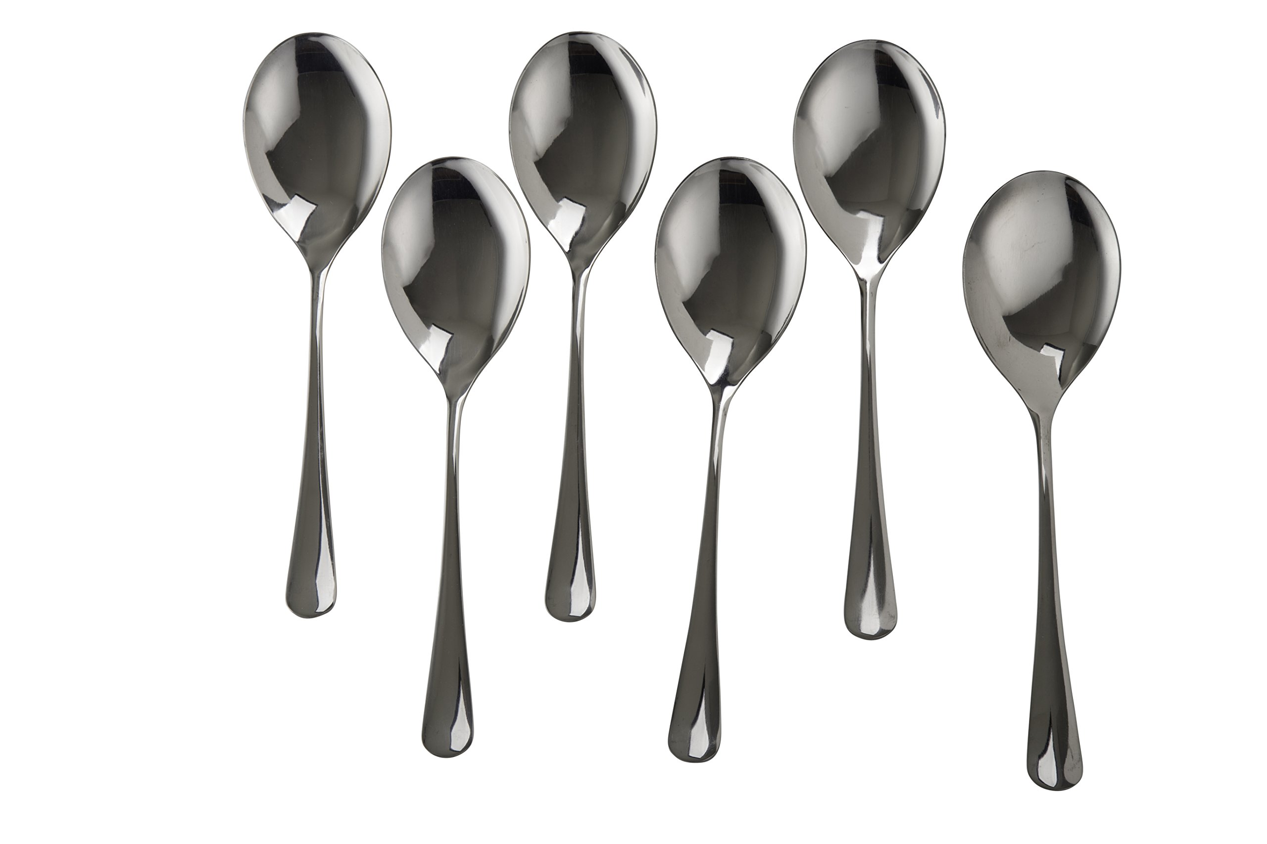 Set of 6 Stainless Steel Large Serving Spoon - 10 inch - High Polish Finish - Buffet & Banquet Style - By Kitchen Winners
