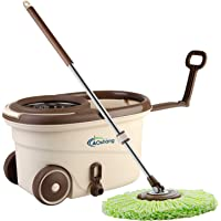 oshang EasyWring Spin Mop and Bucket - Hand-Free Wringing Floor Cleaning Mop - 2 Washable & Reusable Microfiber Mop…