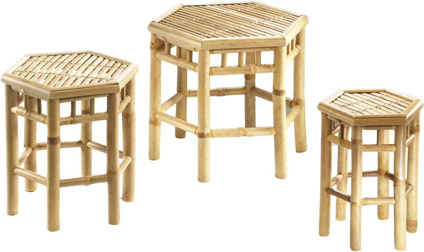 eckig Bambus 3er Set Blumenhocker 6