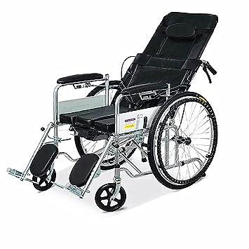 OLDF Silla de Ruedas Multifuncional de Acero Inoxidable + Cuero Plegable Manual Eléctrico de Doble Uso para Personas Mayores con discapacidad Cuidado: ...