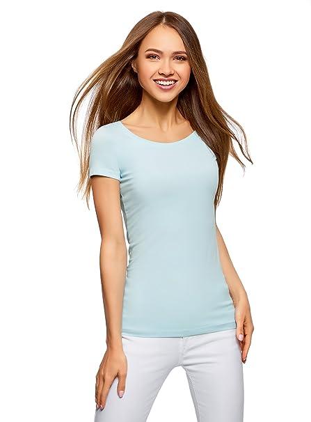 oodji Ultra Damen Tailliertes T-Shirt Basic (3er-Pack), Blau,