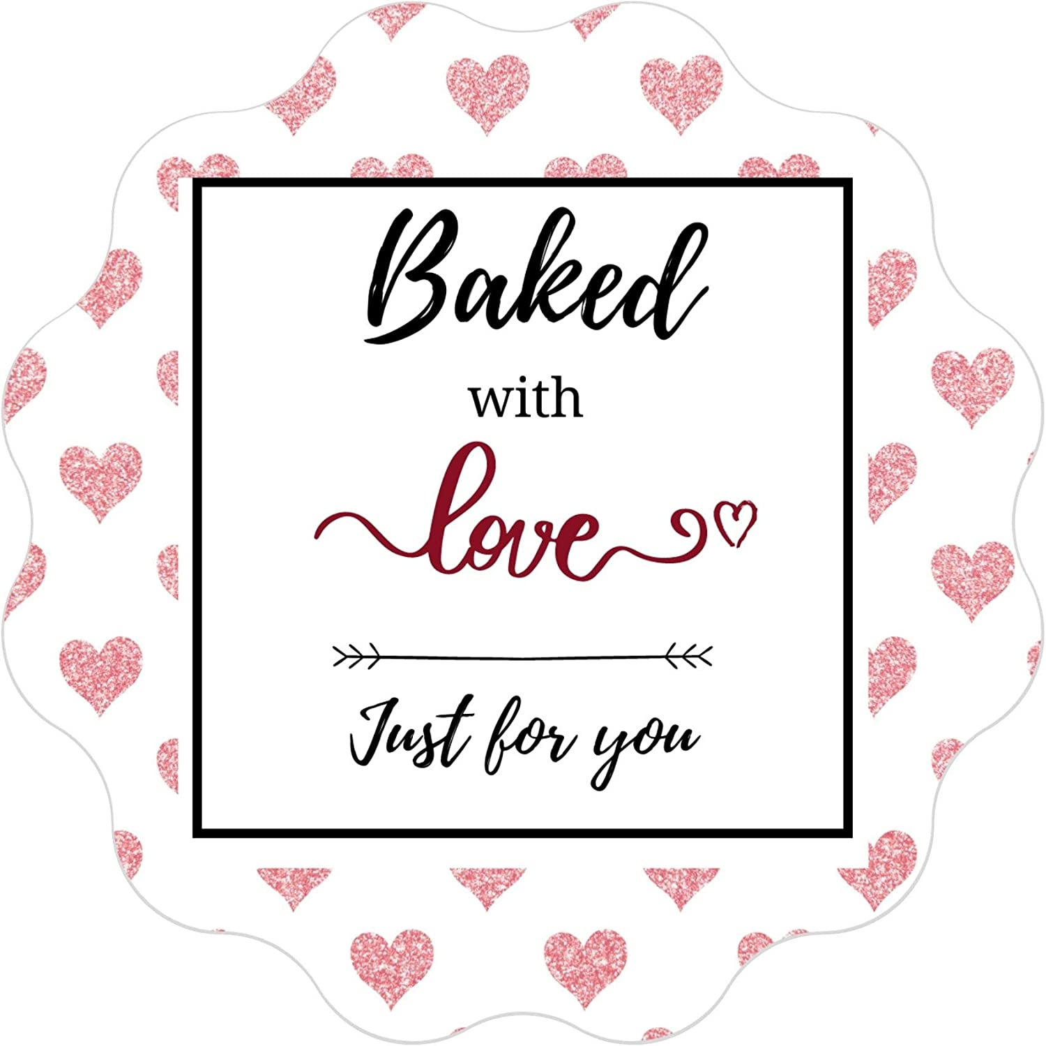 Mobiusea Creation Baked with Love Stickers Roll | Scalloped Cut | Waterproof | 1.5 inch | 500 Labels for Cookie Cupcake Stickers Homemade Bakery Bread Bags Labels Baked Goods Packaging