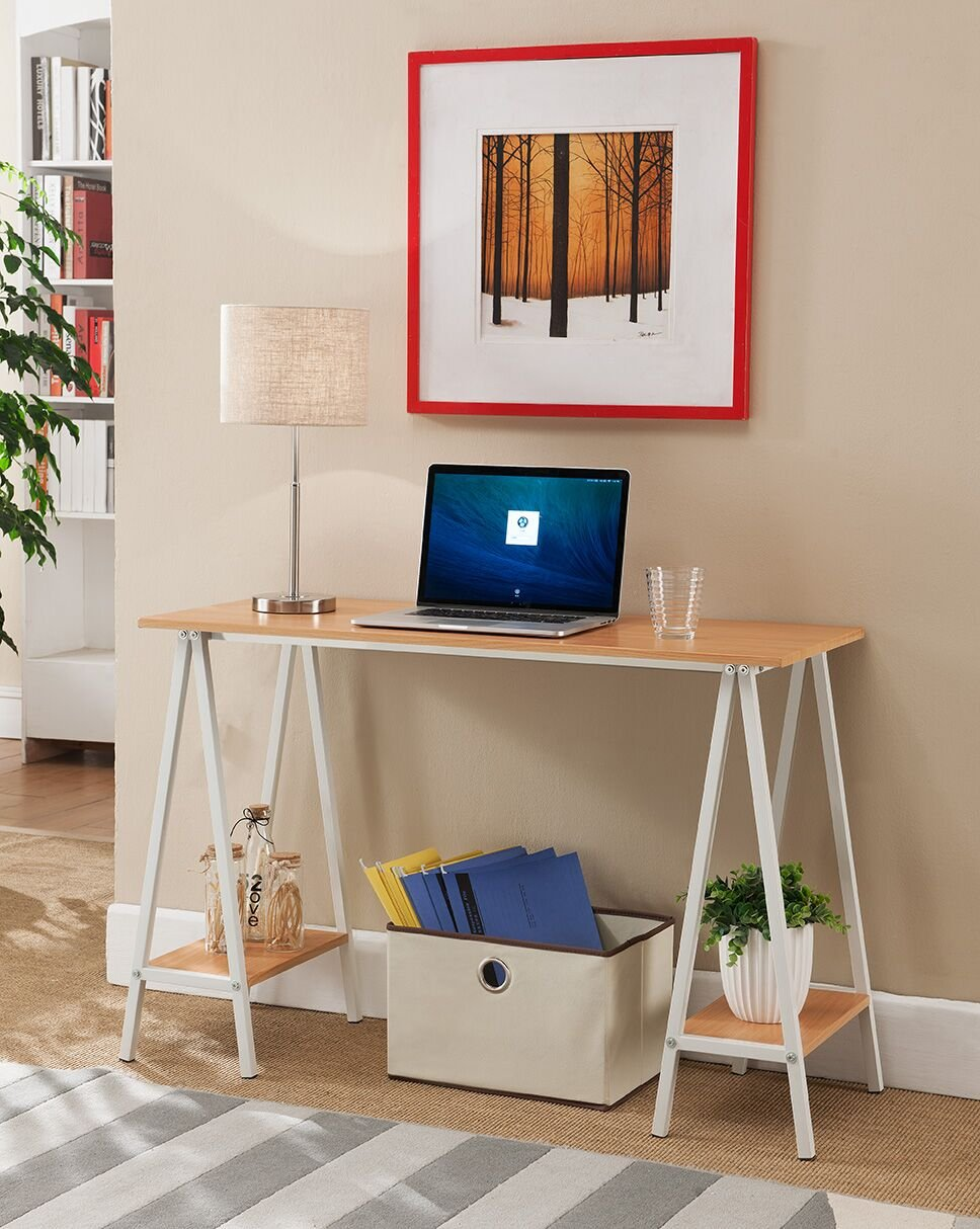 Kings Brand White With Natural Home & Office Desk/Table With Side Shelves