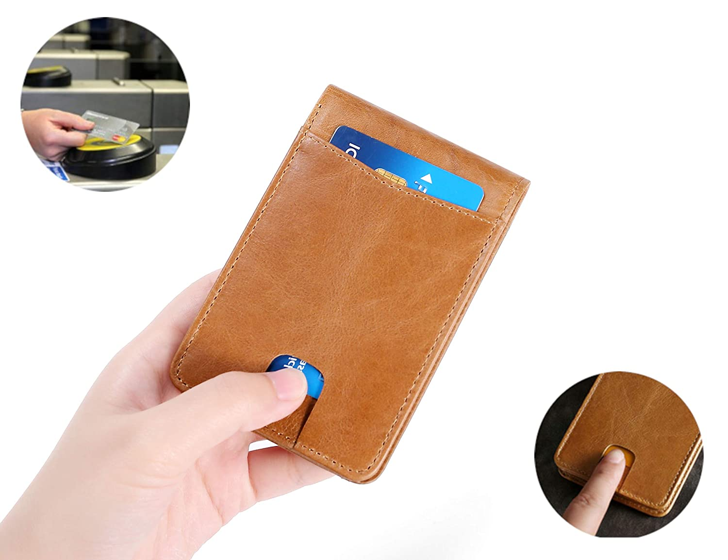 7mm Thinnest Mens Wallet Bifold w//Note Compartment 6-Slot RFID Genuine Leather