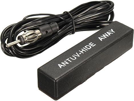 Antena - TOOGOO(R)Antena amplificada ocultada de estereo electronica de radio AM / FM de coche y barco de 12V Negro