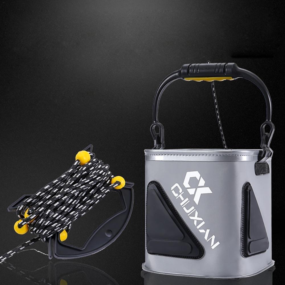 CampHiking/® Pliable P/êche Seau EVA Pliable P/êche App/ât Seau Portable Multifonction P/êche Leurres Live Seau avec Corde