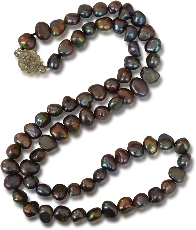 Vifaleno Collar de Perlas Natural de Freshwater, Perlas cultivadas de Agua Dulce, Barroco, Negro, 5-6mm