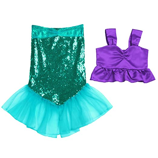 06bc5d5dc dPois Kids Girls  Two-Piece Little Mermaid Shiny Sequined Outfits Crop Top  with Tail
