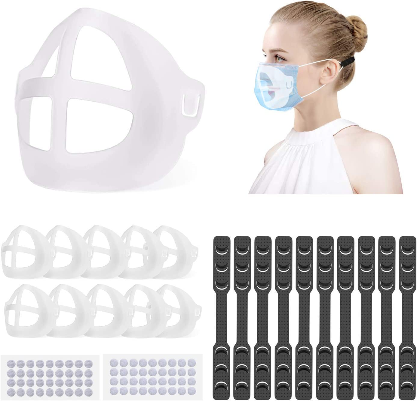 [10PCS]3D Face Bracket Internal Support Frame, Face Inner Support Frame Bracket, Reusable Lipstick Protector Protection for Adults, Clear - -
