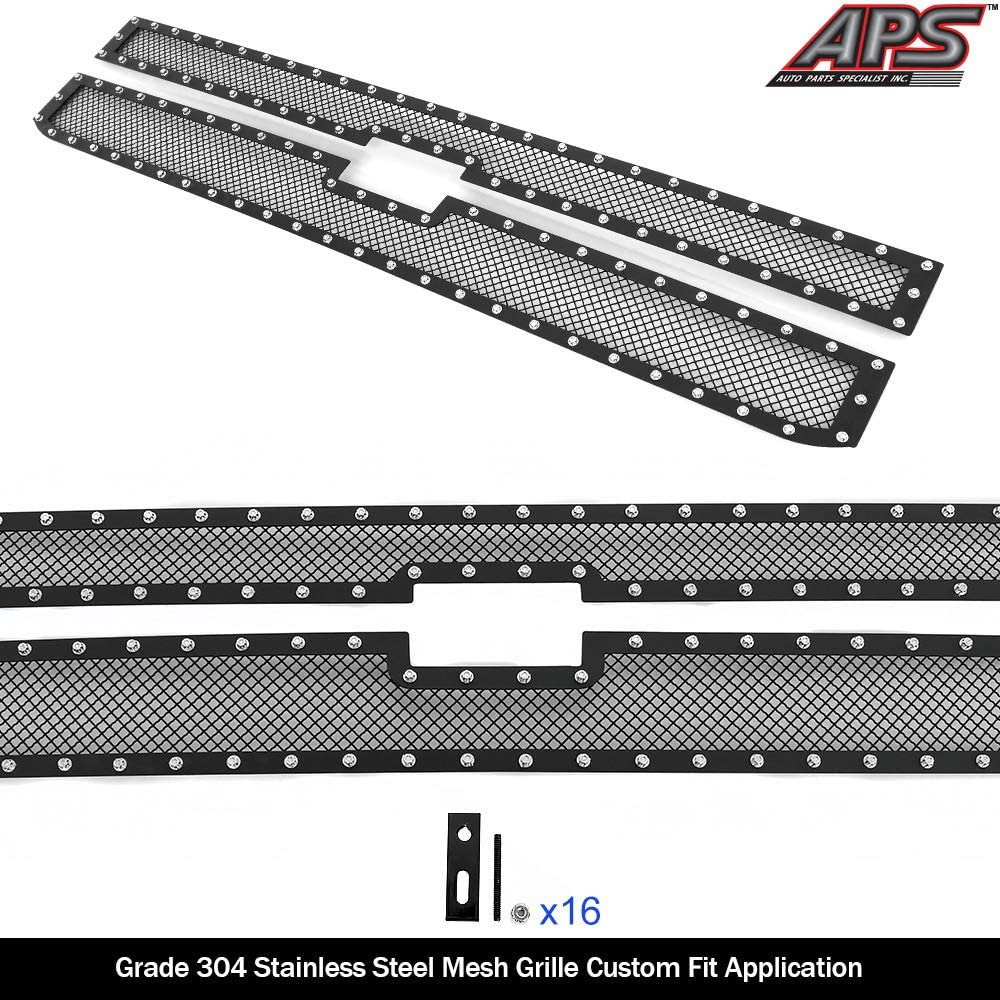APS Compatible with 2015-2018 Chevy Silverado 2500HD 3500HD /& 19 LTZ Main Upper Stainless Steel Black Mesh Rivet Studs Mesh Grille Insert CL6318H