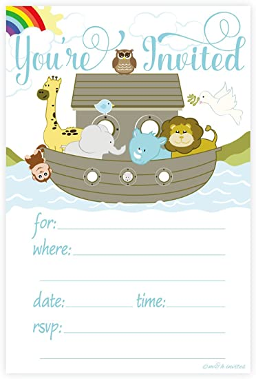 Noahs Ark Invitations   Baby Shower, Baptism, Any Occasion   Fill In Style (