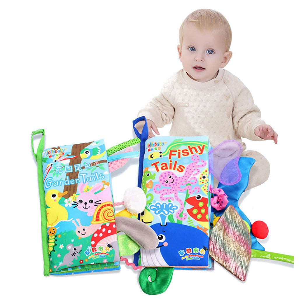 Jungle tail Amazemarket Baby Kids Puzzle Cloth Book Funny Toy Cartoon Animal Daily Various Pattern Early Learning Tear-resistant Touch Soft Non-Toxic Infant Gift