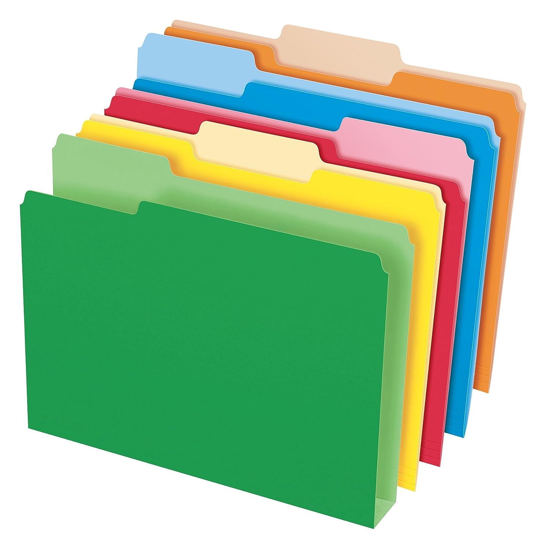 Pendaflex Double Stuff File Folders, Letter Size, Assorted Color, 1/3 Cut, 50/BX (54460)