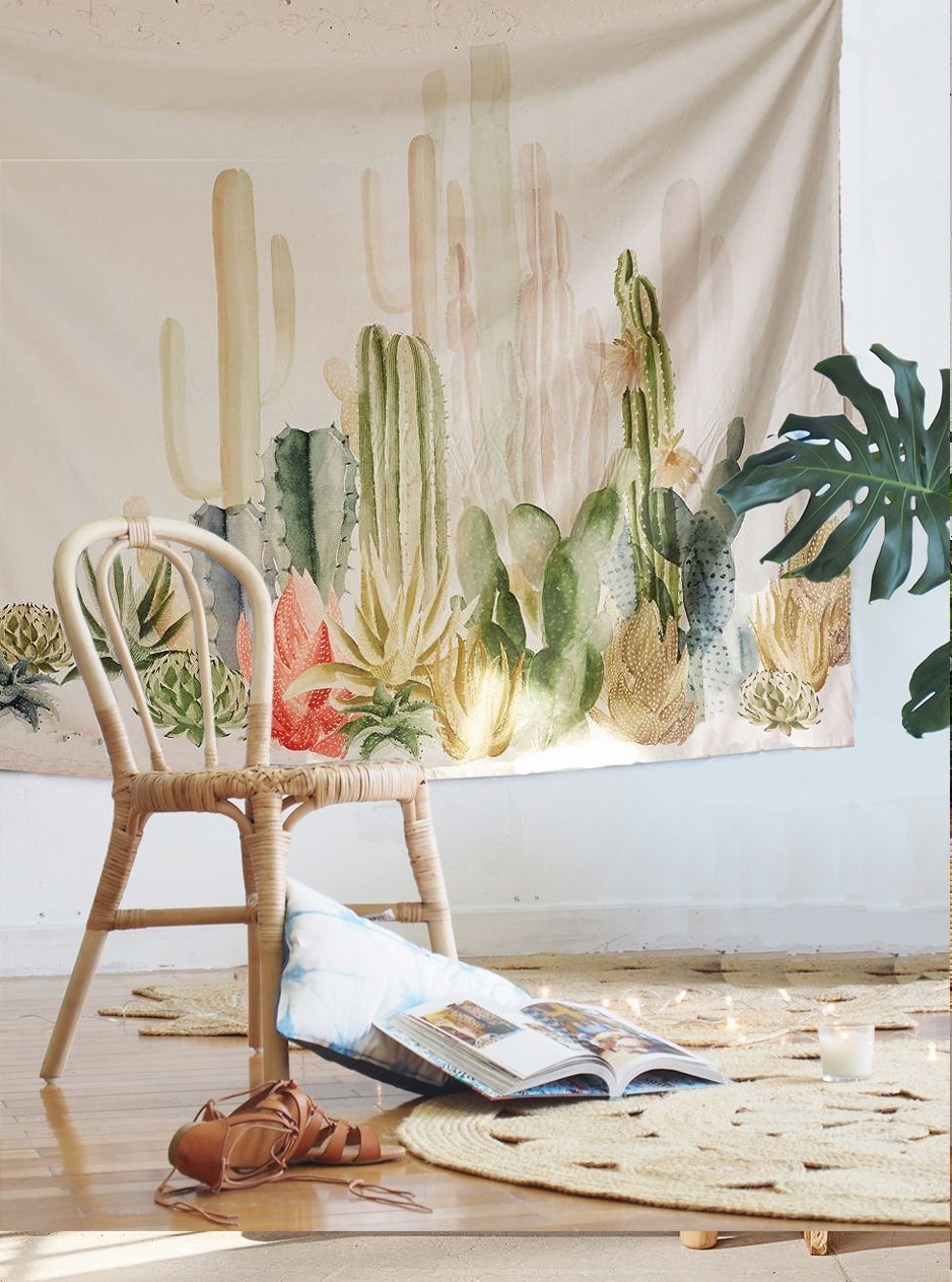 Cactus Landscape Wall Hanging Tapestry Fabric Wallpaper Home Decor,60x 80,Twin Size 60x 80 flber