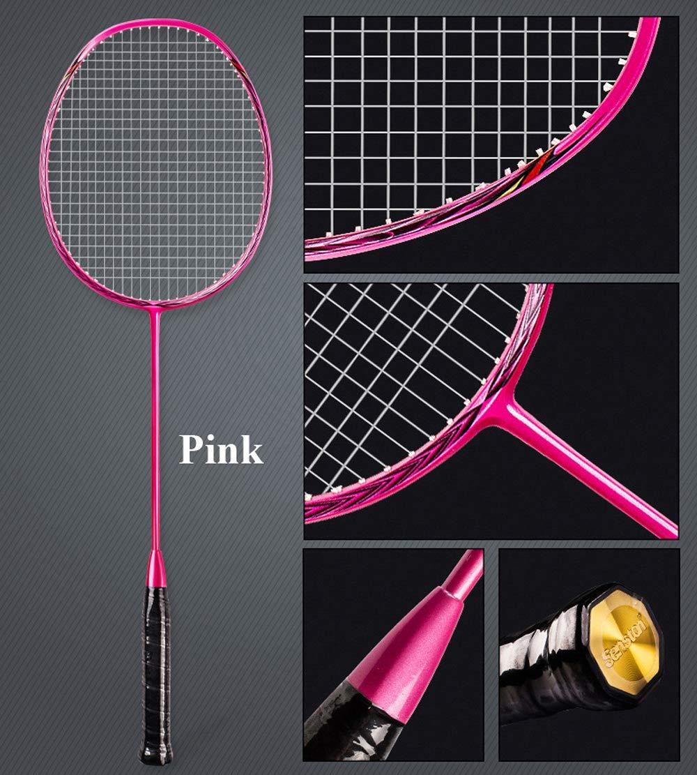 Senston N80 Graphite Single High-Grade Badminton Racquet, Professional Carbon Fiber Badminton Racket, Carrying Bag Included Pink Color by Senston (Image #2)