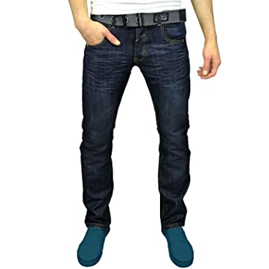 c558483666b MENS CROSSHATCH JEANS HEAN WAK STRAIGHT LEG CLASSIC FIT DARK WASH TROUSERS  JEANS WAIST 30-38  Amazon.co.uk  Clothing