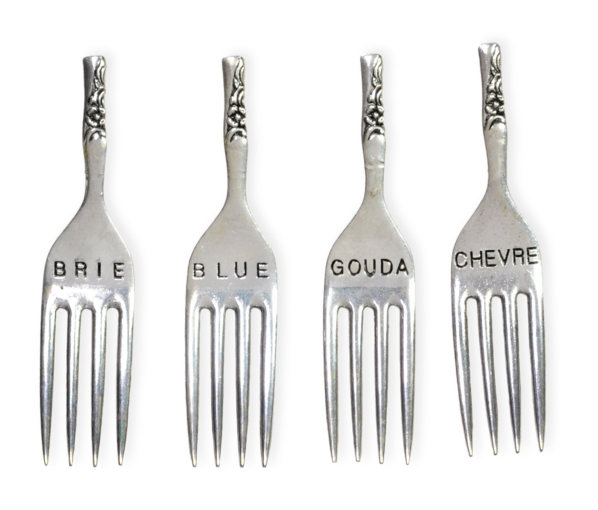 Celebrate the Home Cheese Marker Fromage Forks, Brie, Blue, Gouda, Chevre, Set of 4