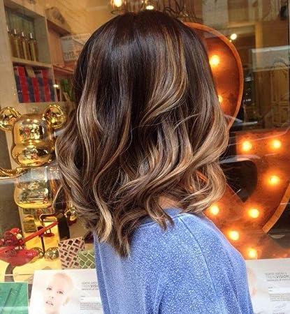 Amazon Com Full Shine 12 Inch Short Bob Hair Wig Wavy Ombre Color 2