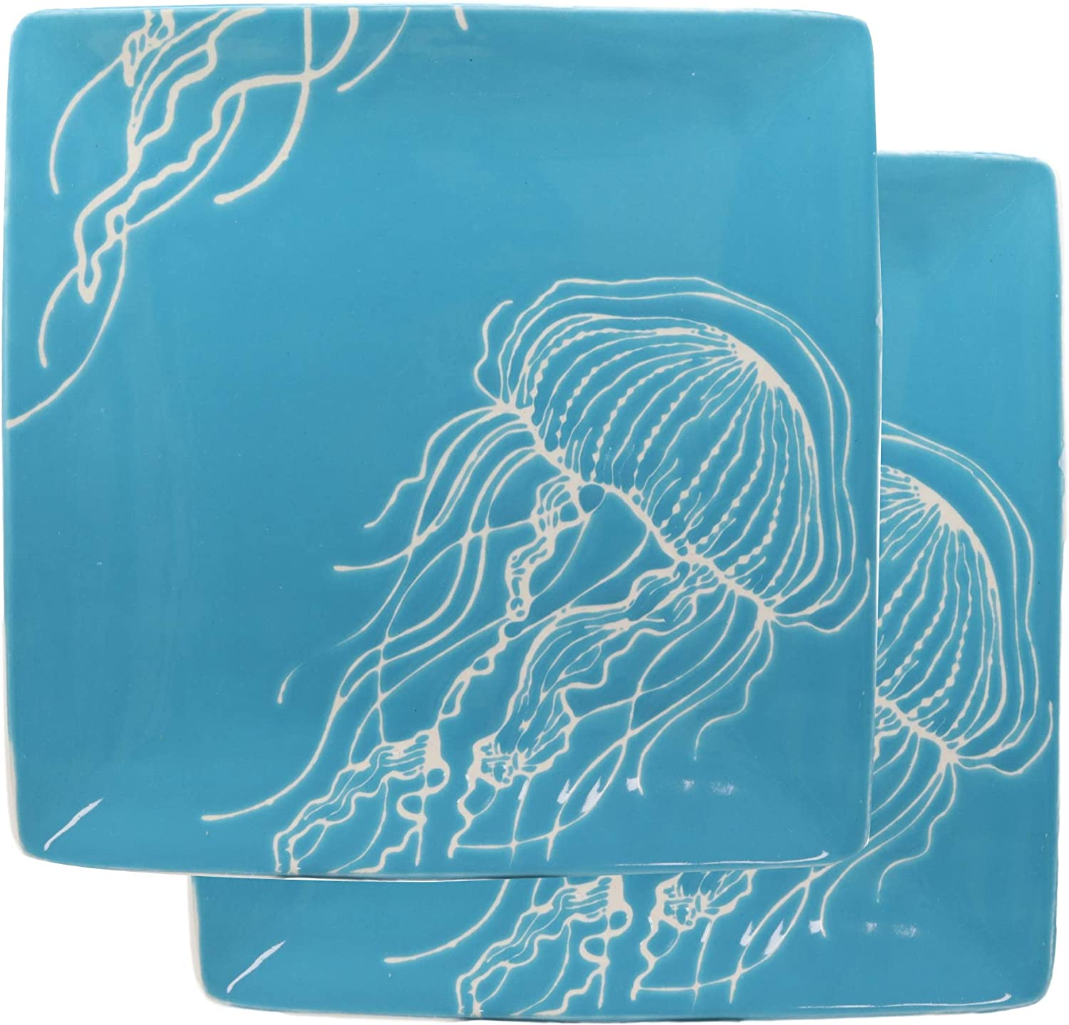 "Ebros Nautical Coastal Ocean Sea Marine Jellyfish Abstract Art Soothing Blue Large Dinner Plate Set of 2 Square 10.75"" Plates Dishwasher Microwave Safe Jelly Fish Dinnerware Dishes"