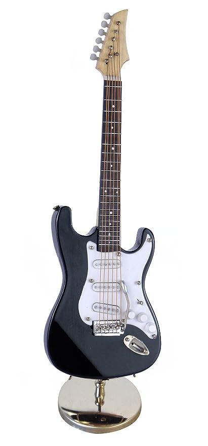 Réplica en miniatura de guitarra eléctrica negra con funda. Intrumento musical decorativo, para regalo